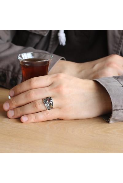 Ergenekon Aksesuar Kırmızı Zirkon Taşlı 925 Ayar Gümüş Son Imparator Yüzüğü