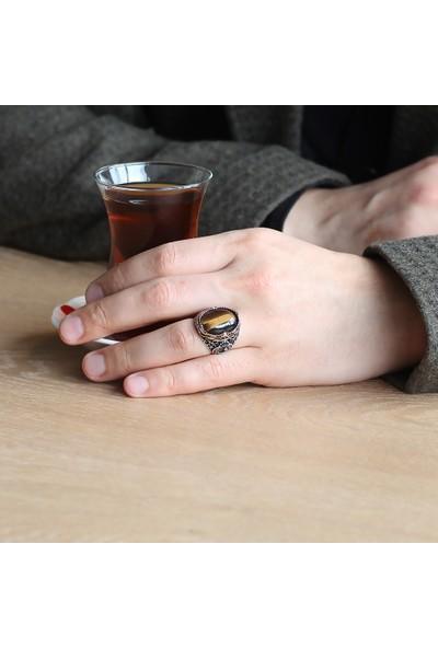 Ergenekon Aksesuar Vav Işlemeli Kaplangözü Taşlı 925 Ayar Gümüş Erkek Yüzük