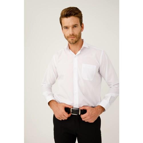 İgs Erkek Beyaz Slım Fıt / Dar Kalıp 7 Cm Klasik Gömlek