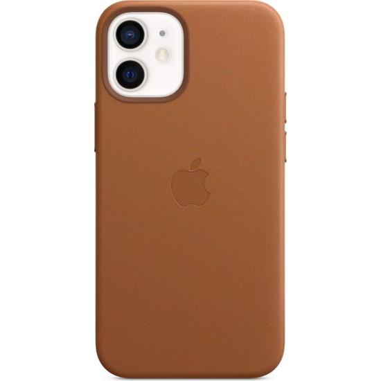 Apple iPhone 12 Mini Deri Kılıf MagSafe Klasik Kahve - MHK93ZM/A