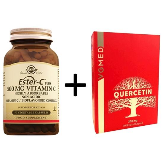 Solgar Vgmed Quercetin 250 Mg 30 Kapsül + Solgar Ester-C Plus 500 mg 50 Tablet