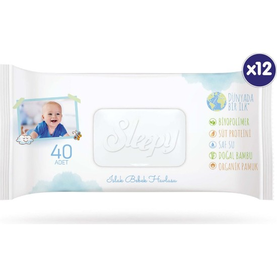 Sleepy Bio Natural Islak Havlu 12 x 40 (480 Yaprak)