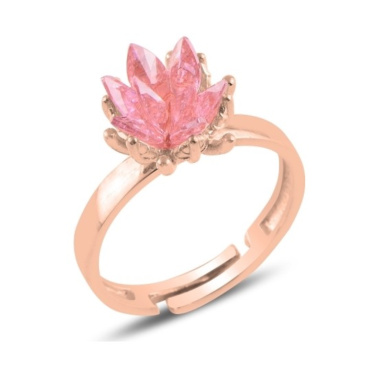 Kovac Kadın 925 Ayar Gümüş Zirkon Taşlı Ayarlamalı Pembe Lotus Çiçeği Yüzük