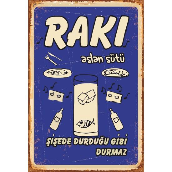 Atc Rakı Aslan Sütü Retro Vintage Ahşap Poster