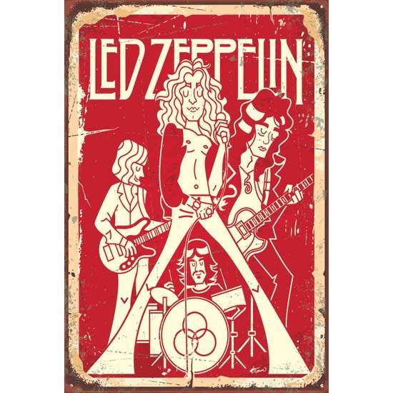 Atc LED Zeplin Retro Vintage Ahşap Poster