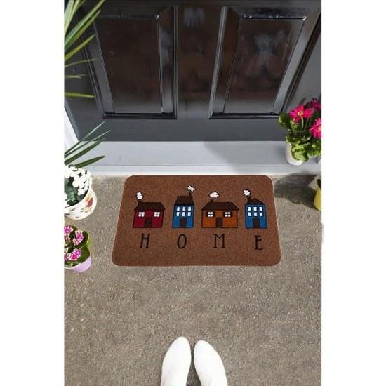 Giz Home Boyalı/Megan Kapı Paspası 40X60 Kahve Evler