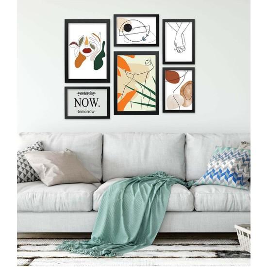 Lyn Home Woman Art Print Siyah Çerçeveli Poster 6'Lı Tablo 4 Adet 17,5x23,5 2 Adet 23,5x33,5 Cm