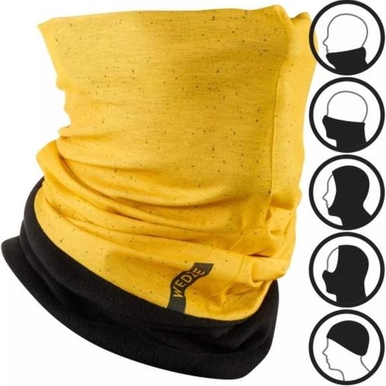 Badem10 Hug Kayak Boyunluğu Kar Maskesi Çok Amaçlı Kışlık Bere Koyu Sarı