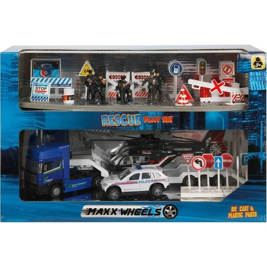 Maxx Wheels Polis Kurtarma Ekibi Oyun Seti - Polis-Mavi Paket