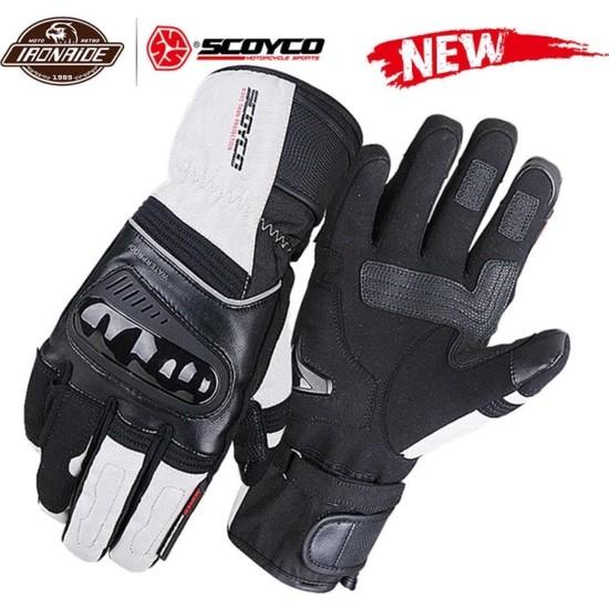 Scoyco MC82 Waterproof Kışlık Korumalı Uzun Eldiven ( Siyah-Beyaz )