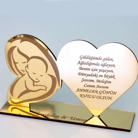 Meşgalem Anneler Günü Hediyesi Gold Isimlik Pleksi Kalpli