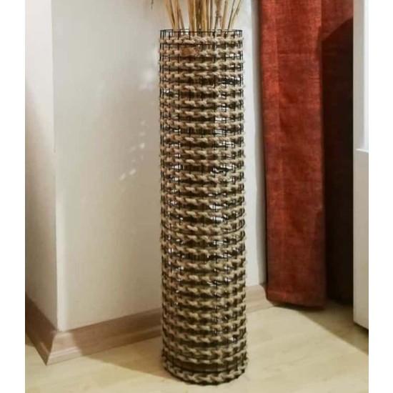 Pazardanal Metal Tel Hasır Örgülü Tasarım Vazo 70CM