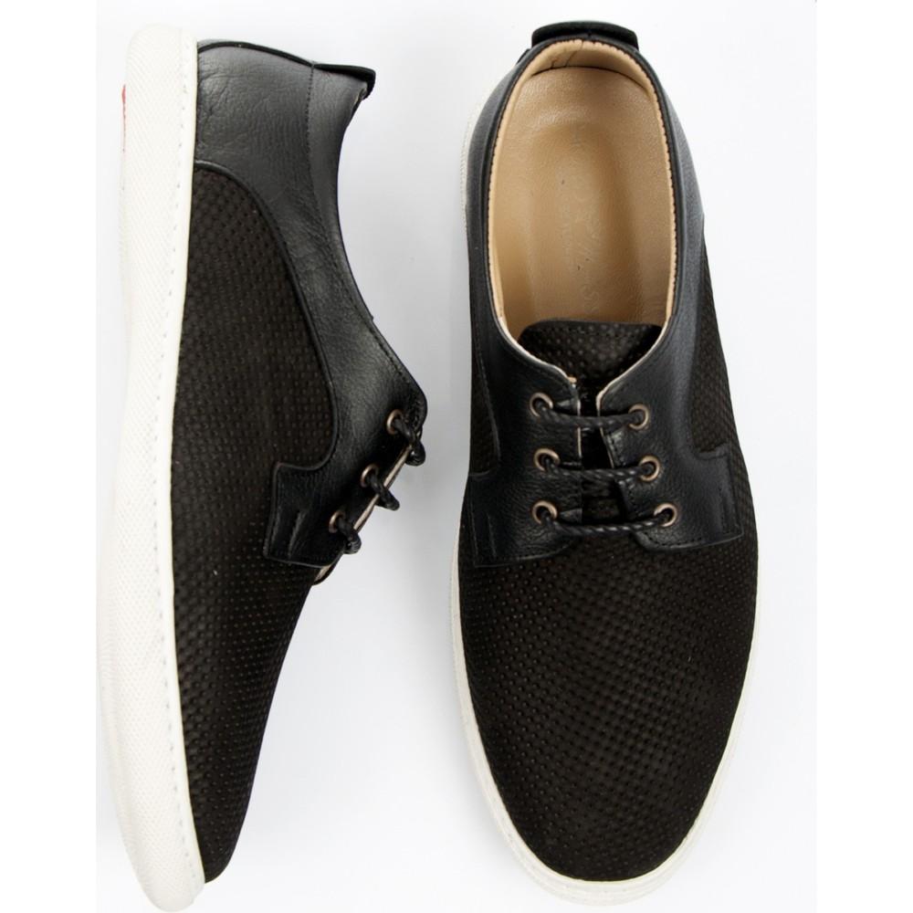 DeepSEA Siyah Lazer İşlemeli Bağcıklı Nubuk Deri Erkek Ayakkabı 1701018-002