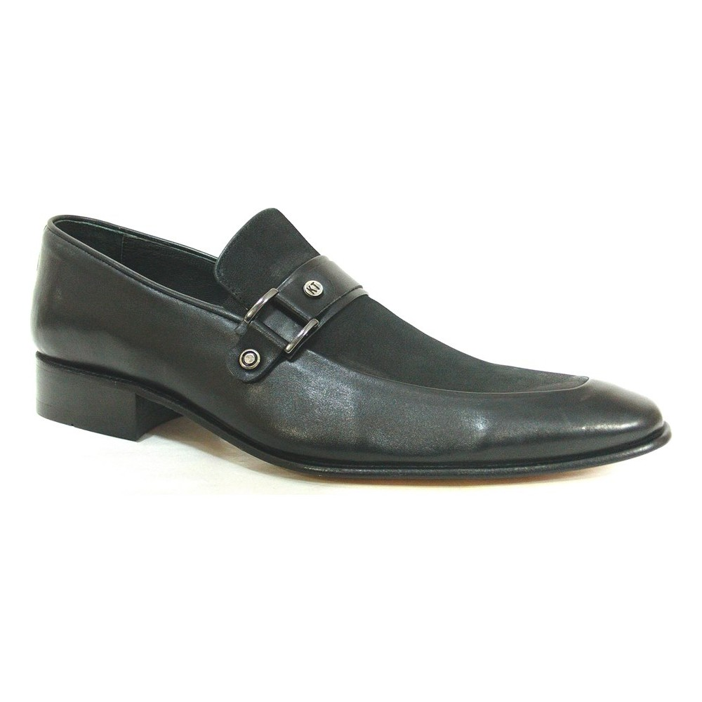 Ekici 7501 Siyah Bağcıksız Kösele Erkek Ayakkabı  Ücretsiz Kargo