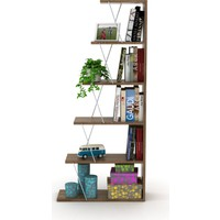 Rafevi Tars Kitaplık Mini Ceviz Krom RF160402
