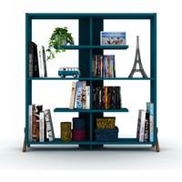 Rafevi Kipp Kitaplık Ceviz Mavi