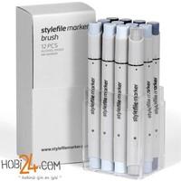Stylefile Marker Brush 12'Li Cool Grey Set