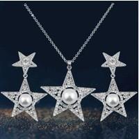 Myfavori Seti Beyaz Taşlı Yıldız Kolye Küpe Takı Seti