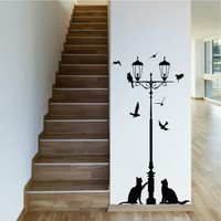 Street Lamp and Cats Duvar Sticker