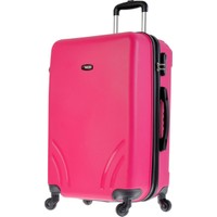 Tutqn Kırılmaz Plastik Bavul Pembe Orta Boy Valiz %100 Pp