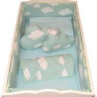 Palmy Baby Uyku Seti + 2 Ad. Bulut Yastık + Uyku Yastığı Hediyeli Beşik Koruma Tam Takım - Yeşil Bulut Desen