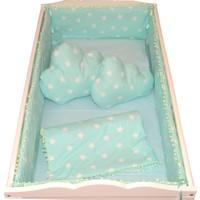 Palmy Baby Uyku Seti + 2 Ad. Bulut Yastık + Uyku Yastığı Hediyeli Beşik Koruma Tam Takım - Yeşil Yıldız Desen