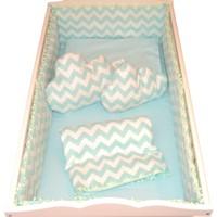 Palmy Baby Uyku Seti + 2 Ad. Bulut Yastık + Uyku Yastığı Hediyeli Beşik Koruma Tam Takım - Yeşil Zikzak Desen