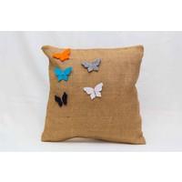 Model Jüt kelebek Desen Kırlent