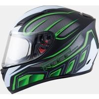 MT Kask MT Blade SV Alpha Gloss Black/White/Fluor Green Full Face Güneş Vizörlü