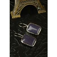 Dr Stone Doğal Taş Kadın Lapis Lazuli Küpe 24Hdr31