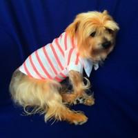 Kemique Pembe Çizgili - Polo Yaka Tişört - Summer Köpek Elbisesi