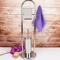 Top Star Metal Klozet Fırçalığı ve Tuvalet Kağıtlığı - Wc Tuvalet Kağıtlığı ve Fırça