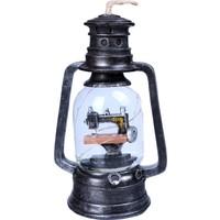 Gaz Lambası Tasarımlı Işıklı Dikiş Makinesi Kar Küresi Müzik Kutusu