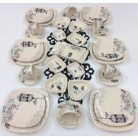 Keramika Retro 34 Parça 6 Kişilik Seramik Kahvaltı Takımı