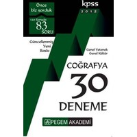 Pegem Akademi 2018 Kpss Genel Yetenek : Genel Kültür Coğrafya 30 Deneme