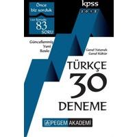 Pegem Akademi 2018 Kpss Genel Yetenek : Genel Kültür Türkçe 30 Deneme