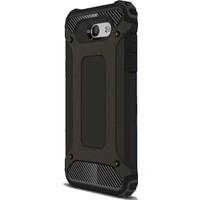 Case 4U Samsung Galaxy C9 Pro Kılıf Çift Katmanlı Tank Kapak Siyah + Cam Ekran Koruyucu