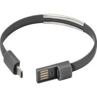 Case 4U Micro USB Uyumlu Bileklik Şarj ve Data Kablosu Siyah