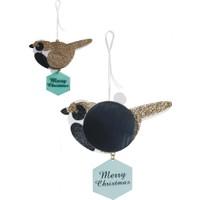 Wooderfullife Süs Dekorlu Yılbaşı Kartı Açılır Petek Siyah Kuş
