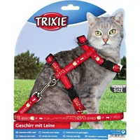 Trixie kedi göğüs tasma ve gezdirme seti Kırmızı 25-44cm/10mm
