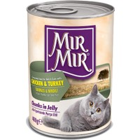 MırMır Chicken & Turkey Chunks in Jelly Kedi Konservesi 400 Gr