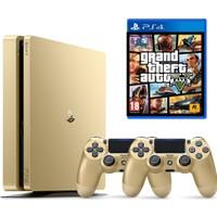 Sony Ps4 500 GB Slim Gold (Altın) + Gold DualShock 4 Kol + PS4 Gta 5