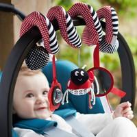 Momz Sevimli Spiral Puset Bebek Arabası Beşik Aktivite Oyuncağı Peluş Oyuncak Kırmızı