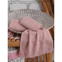 Cotton Box 3 lü Gipürlü Havlu Seti Pudra