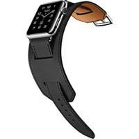 Case 4U Apple Watch Çift Tur Deri Kayış Siyah (42mm)