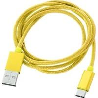 Case 4U Usb 3.1 Type-C Şarj Ve Data Kablosu İp Doku Sarı