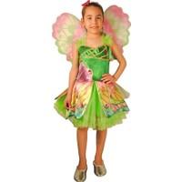 Winx Flora Çocuk Peri Kostümü 4-6 Yaş