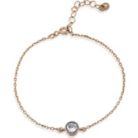 Lio Jewels 925 Ayar Altın Kaplama Gümüş Tek Taş Zincirli Bileklik