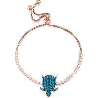 Lio Jewels 925 Ayar Altın Kaplama Gümüş Mavi Taşlı Kaplumbağ Figürlü Asansörlü Bileklik