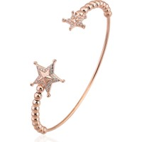 Lio Jewels 925 Ayar Altın Kaplama Gümüş Şerif Yıldızı Topçuklu Ayarlanabilir Tel Bilezik